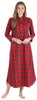 Family Matching Red Plaid Flannel Thermal Pajamas for the Family for Women - Nightgown