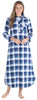 Christmas Family Matching Blue Plaid Flannel Pajamas for The Family Women - Nightgown