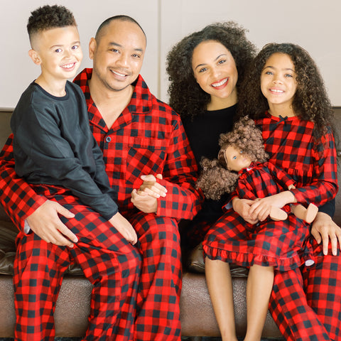 Christmas Family Matching Red Black Buffalo Plaid Flannel Pajamas