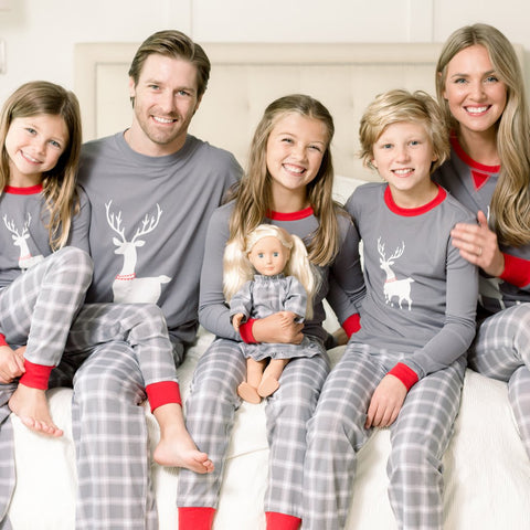 Red Holiday Family Matching Grey Plaid Deer Pajama PJ Sets