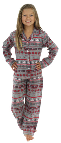 Kids Holiday Button Down Top Pajama Set