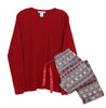 Women's Christmas Flannel Pants and Thermal Tops Pajama Sets