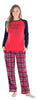 Christmas Family Matching Blue and Red Plaid Fleece Pajamas for Women
