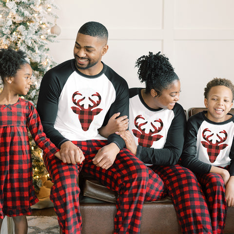 Christmas Family Matching Winter Fleece Deer Buffalo Plaid Pajamas