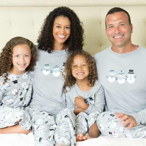 Christmas Family Matching Winter Snowman Grey Fleece Pajamas