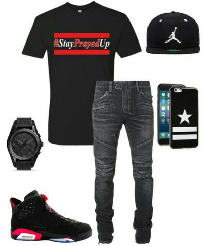 Stay Prayed Up Christian men black and red tee tshirt