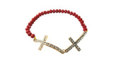 Double Cross Beads Bracelet, Bracelet, Spiritual Mic, Spiritual Mic Fashionable christian apparel tees