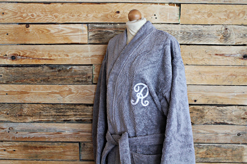 Custom Bathrobe - Pearl grey