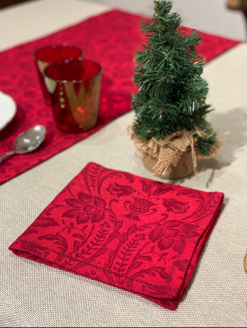 NAPKIN DONNA DI COPPE BICOLOR - CHRISTMAS RED