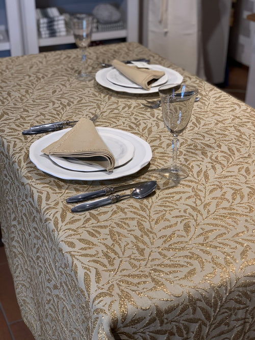 "BAMBU GOLD LUREX TABLECLOTH ""70,8x""106,3 (180x270cm) + 12 napkins"