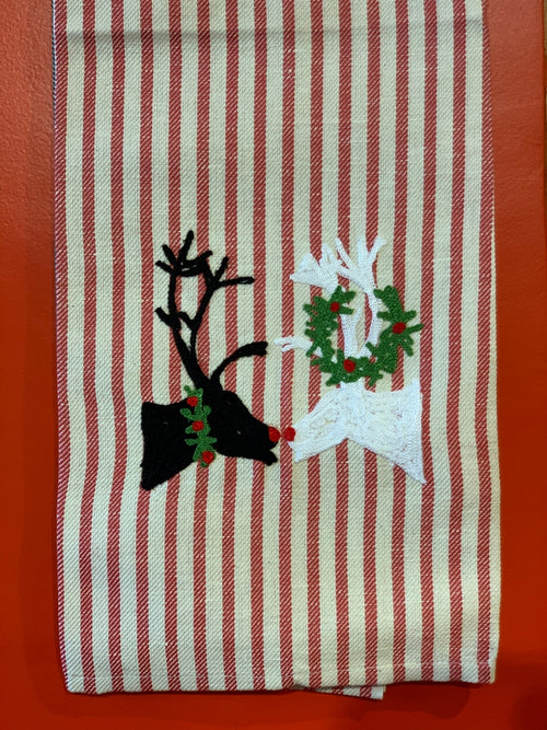 KISSING DEER - CHRISTMAS KITCHEN TOWEL