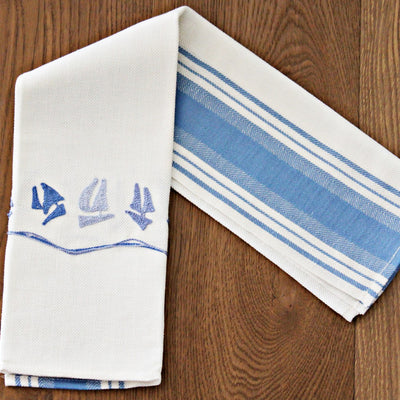 Small sail boats - kitchen towel