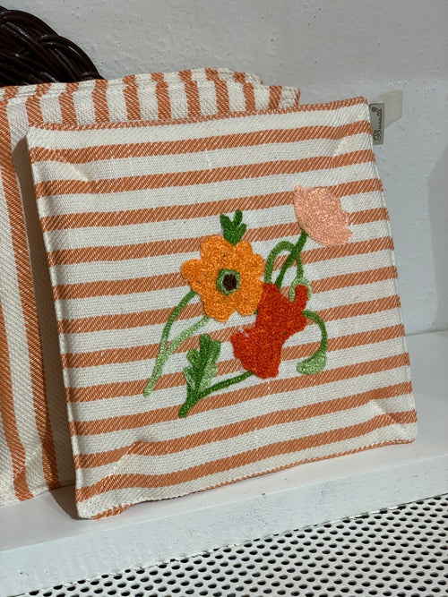 POT HOLDER - Orange Flowers