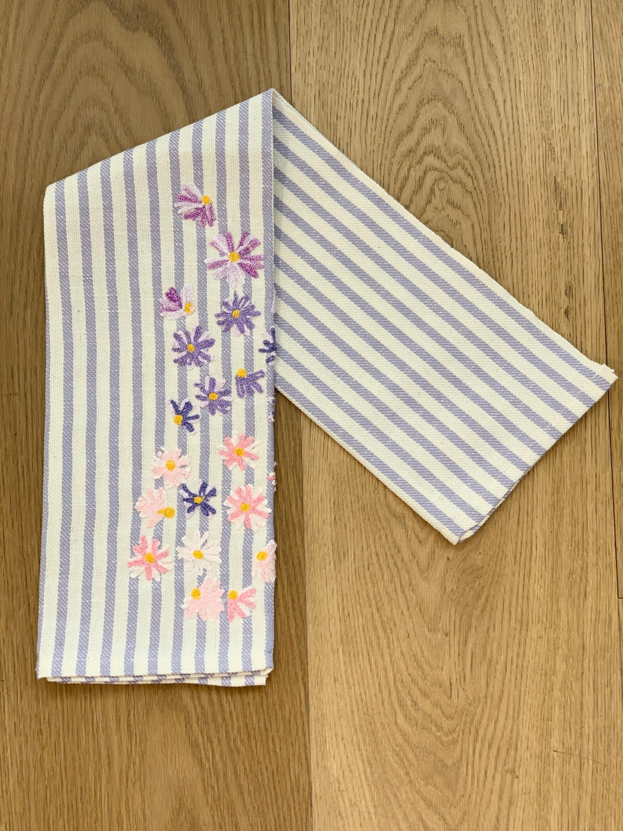 SPRING FLOWERS - EMBROIDERED KITCHEN TOWEL