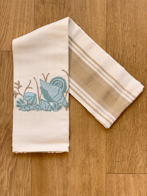 TURQUOISE SEASHELLS - EMBROIDERED KITCHEN TOWEL
