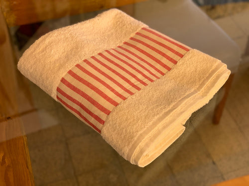 TERRY BATH TOWEL WITH BORDER - CREAM