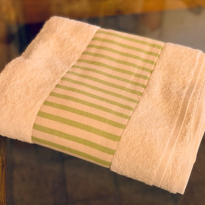 TERRY BATH TOWEL WITH BORDER - WHITE