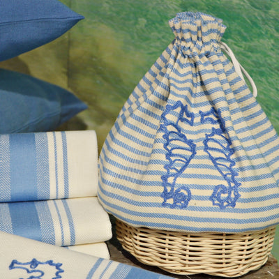 BREAD BASKET - SEA HORSES EMBROIDERY