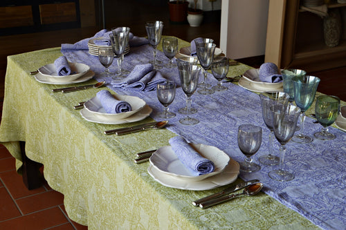 "BURRACO TABLECLOTH ""79x""126 (200X300cm) sage green"