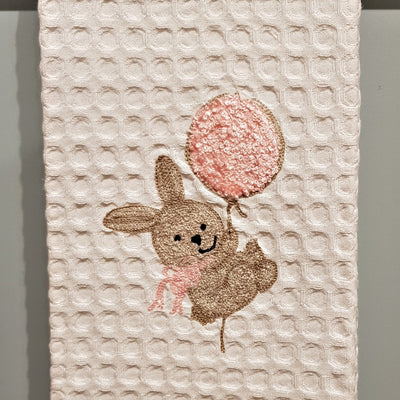 BUNNY WITH PINK BALLOON - GUEST TOWEL