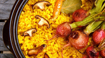 Golden Rice with Crispy Shiitakes and Oven-Roasted Radishes