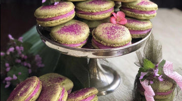 Matcha Green Tea Macarons with Dragonfruit Cream Filling