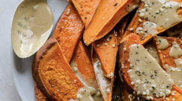 Hemp Seed-Sprinkled Baked Sweet Potato Fries with Lemon Tahini Dressing