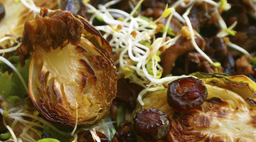 Roasted Brussel Sprout, Shiitake, and Cranberry Salad