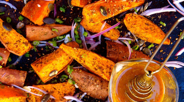 Za'atar Roasted Sweet Potato Wedges with Oregon Pumpkin Seeds and Honey Mustard Dressing