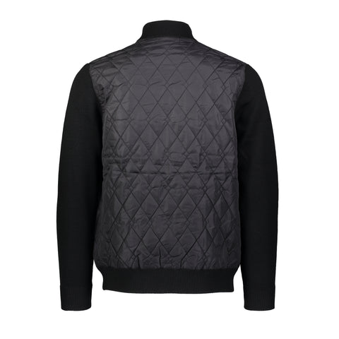 Wool Blend Nylon Quilted Sweater Jacket