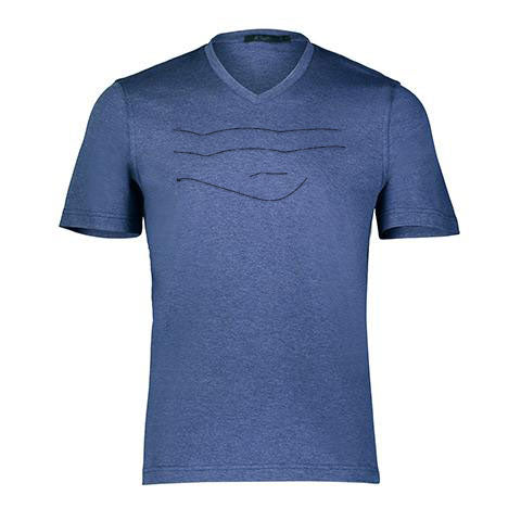 ABSTRACT LINES By Raffi<BR>Aqua Cotton Basic V/Neck Tee