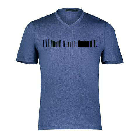 VERTICAL WAVES By Raffi<br>Pure Aqua Cotton Basic V/Neck Tee
