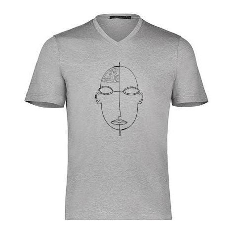 LINEAR FACE By Raffi<BR>Aqua Cotton Basic V/Neck Tee