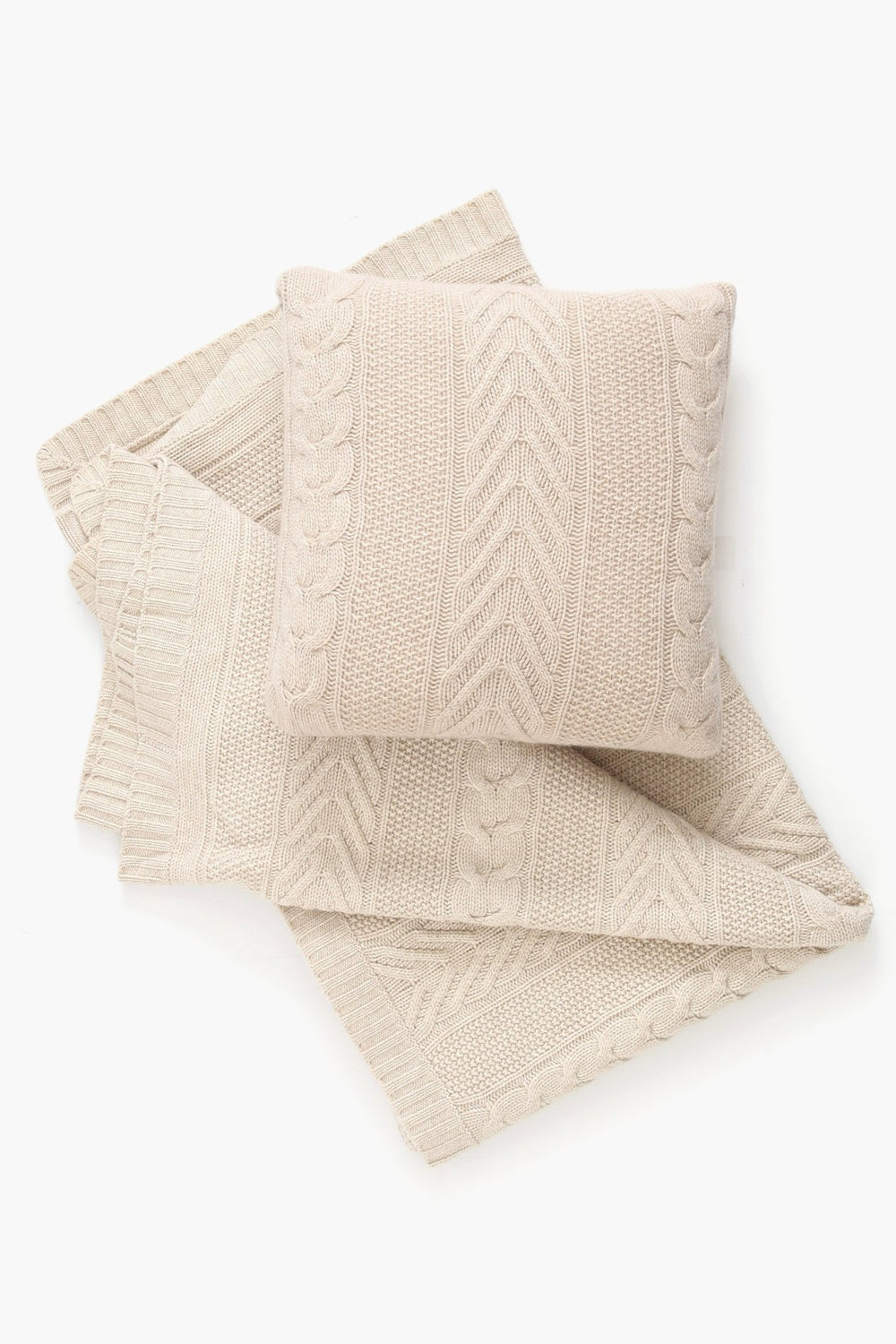 Pure Cashmere Cable Pillow Case