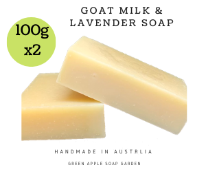 Promotion: 1 + 1 Australian Handmade Goats milk and Lavender Natural Soap, 2 x 100gram soap