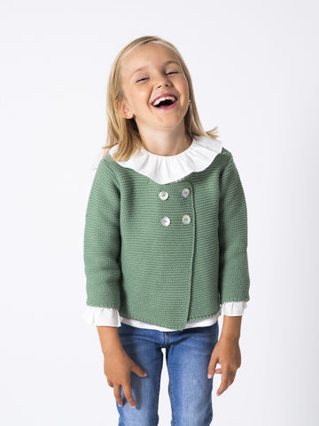 Green 4 button cardigan