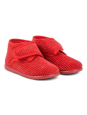 Red corduroy house slippers