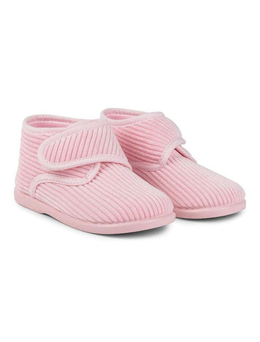 Pink corduroy slippers