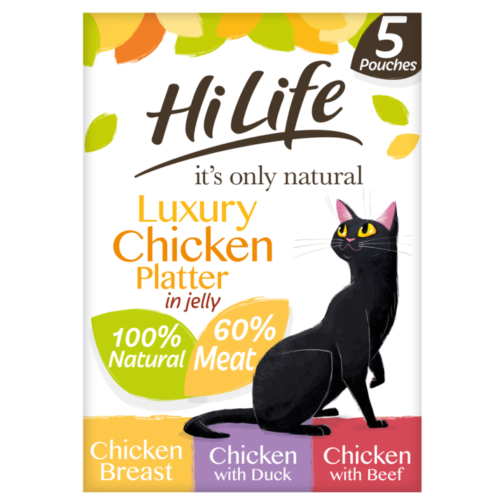 Hilife Its Only Natural Cat Pouch Multipack Luxury Chicken Platter In Jelly 5x50g (4pk)