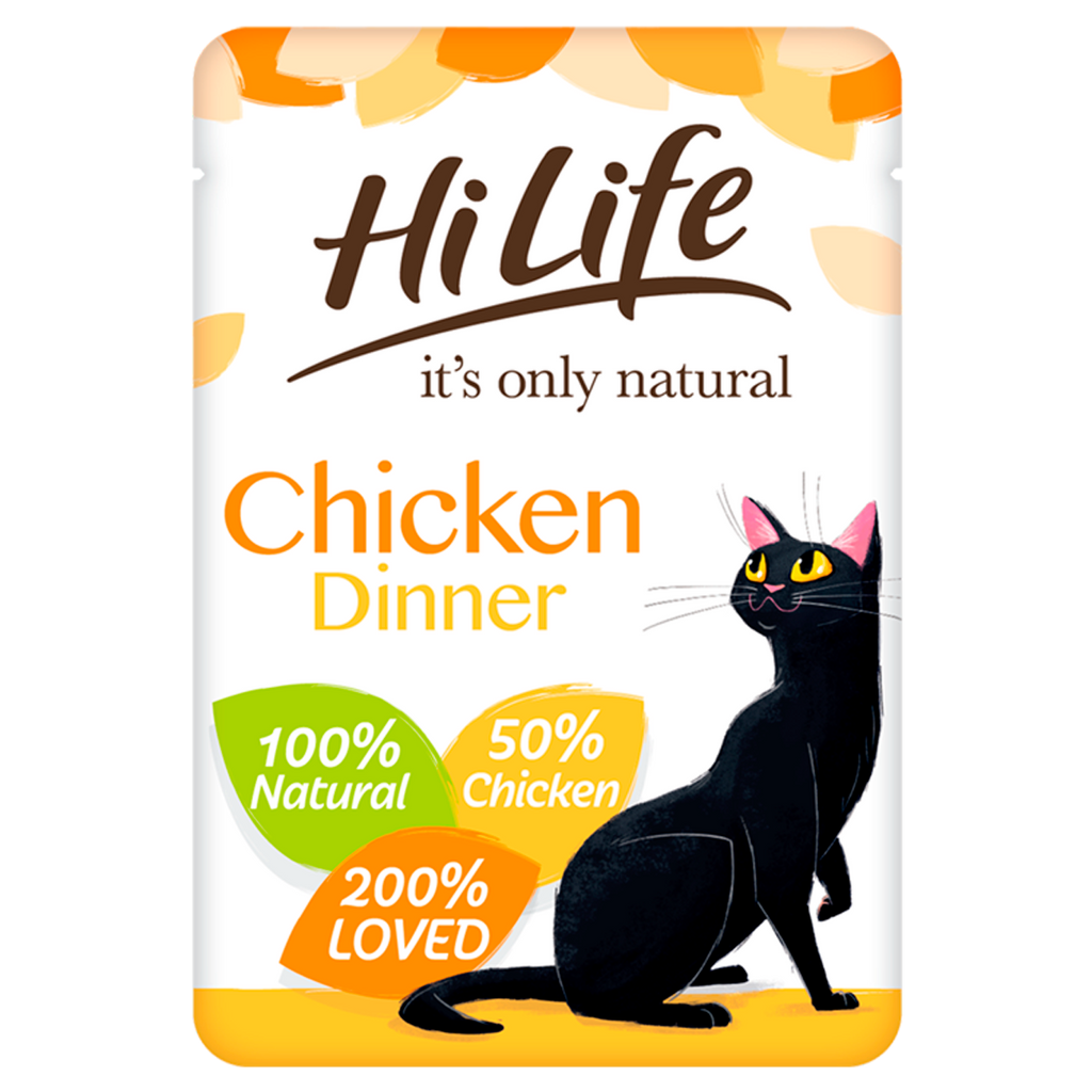 Hilife Its Only Natural Cat Pouch Chicken Dinner In Jelly 70g x 18pk