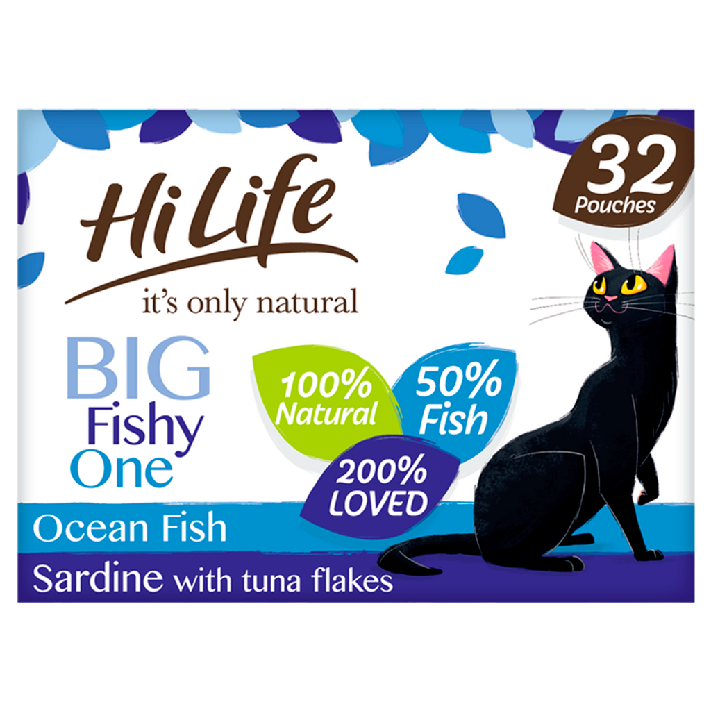 Hilife Its Only Natural Cat Pouch Multipack The Big Fishy One In Jelly 32x70g