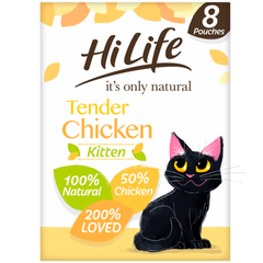 HiLife It's Only Natural Tender Chicken Kitten Food 8x70g