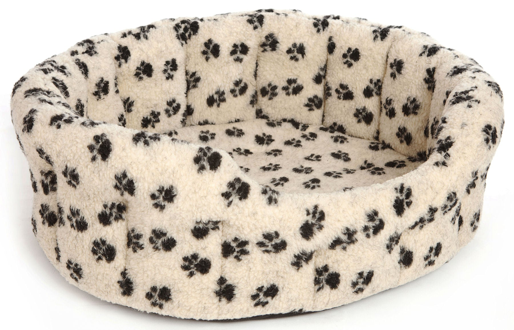 Pets and Leisure Oval Softee Fleece Paw Print Dog Bed
