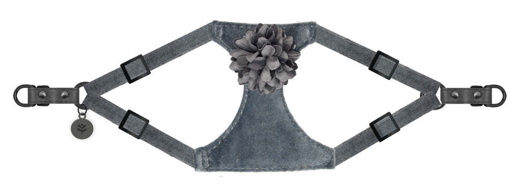 Sotnos Puppy Bow Grey Velvet Dog Harness