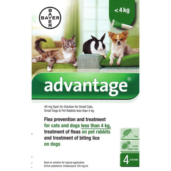 Advantage 40 For Small Cats, Small Dogs and Rabbits - 4 Pipettes