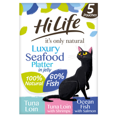Hilife Its Only Natural Cat Pouch Multipack Luxury Mixed Platter In Jelly 5x50g (4pk)
