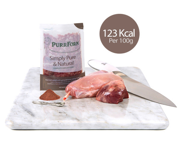 Purrform Minced farmed rabbit with ground bone with ox heart 6 x 70g