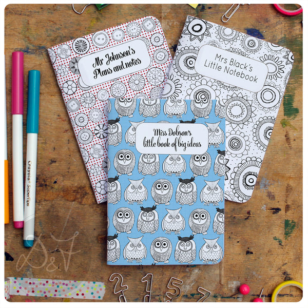 3 mix and match A6 personalised pocket notebooks