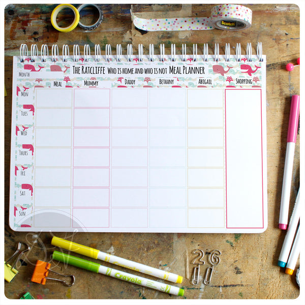A4 Personalised Family organiser with tear off shopping lists