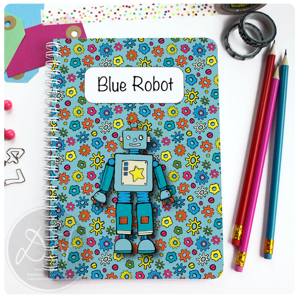 blue robot notebook cover